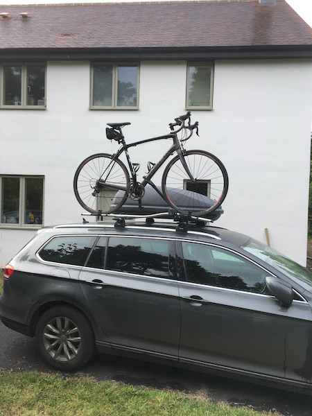 Bike on roof rack