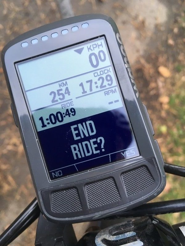 Wahoo ELEMNT BOLT end ride