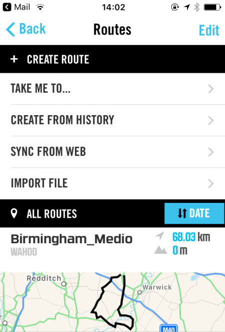 Wahoo ELEMNT app routes page