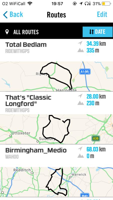 Wahoo routes RidewithGPS