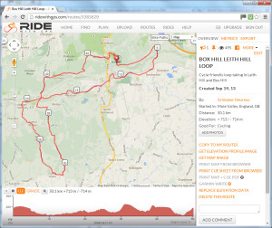 ridewithgps screenshot leith hill loop