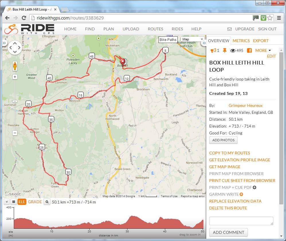 ridewithgps screenshot leith hill loop - Sportive Cyclist